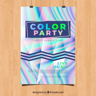 Abstract party poster with holographic effect