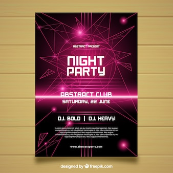 Abstract party poster with neon lights