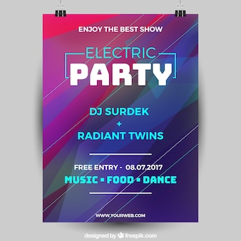 Abstract party poster with psychedelic style