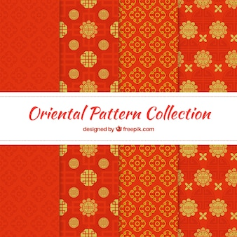 Abstract patterns of red decorative shapes