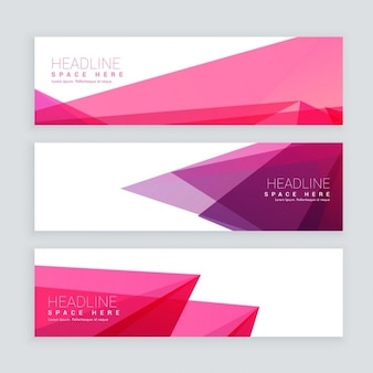 Abstract pink geometric shape banners