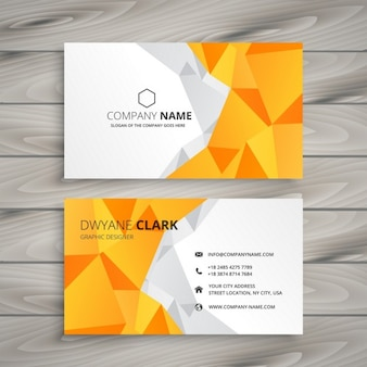 Abstract polygonal yellow business card