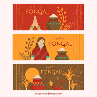 Abstract Pongal banners