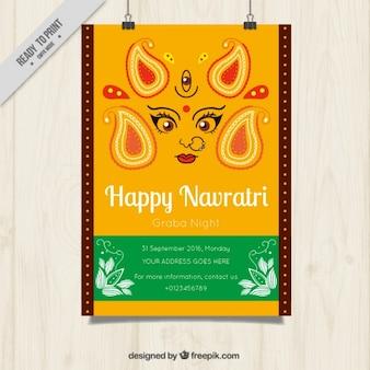 Abstract poster of happy navratri celebration