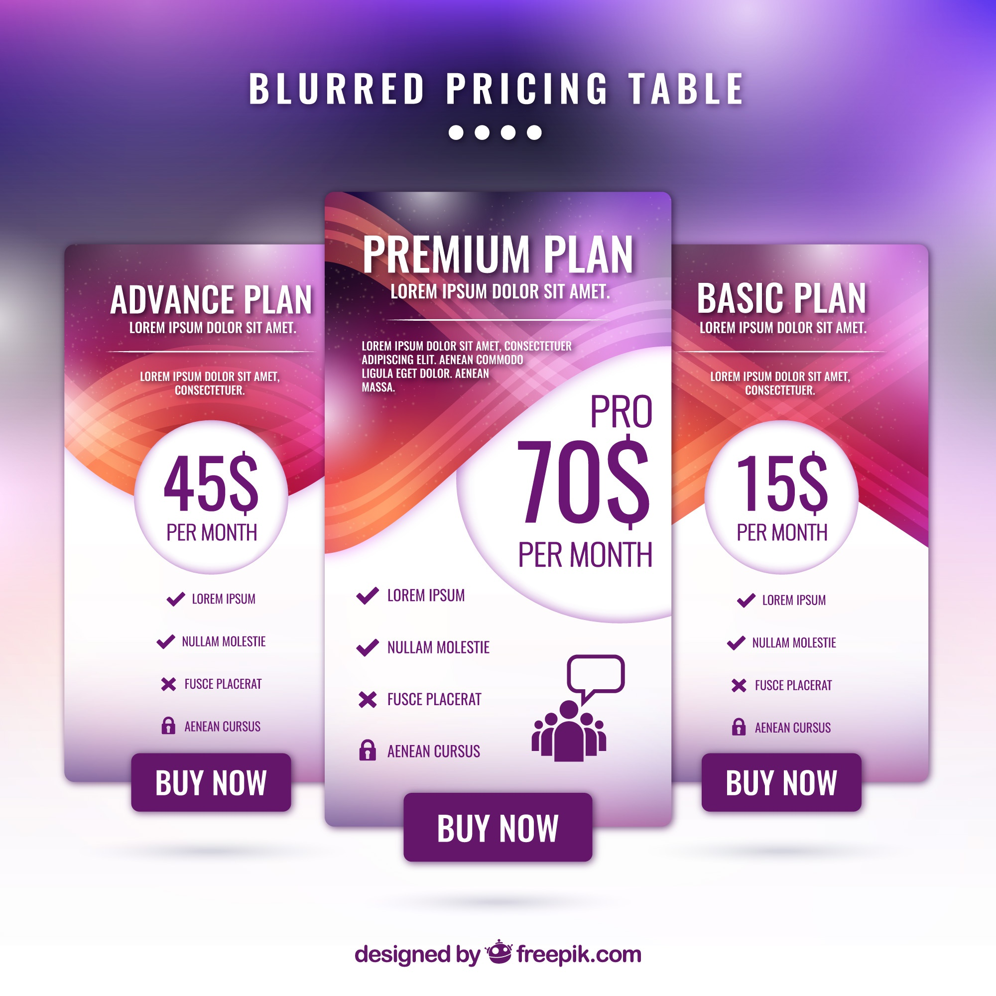 Abstract price banners with defocused effect