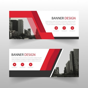 Abstract red banner with geometric shapes