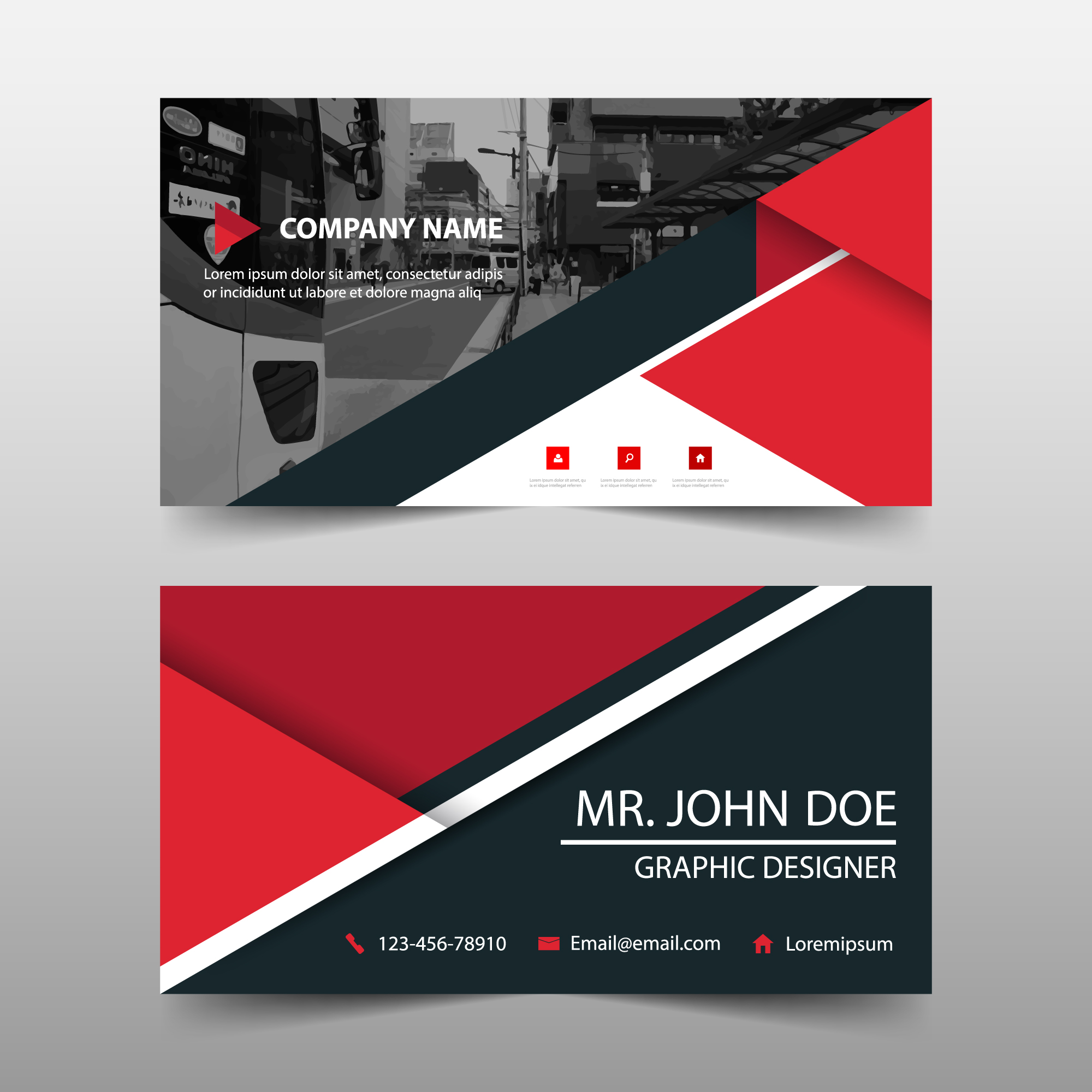 Abstract red business card template design