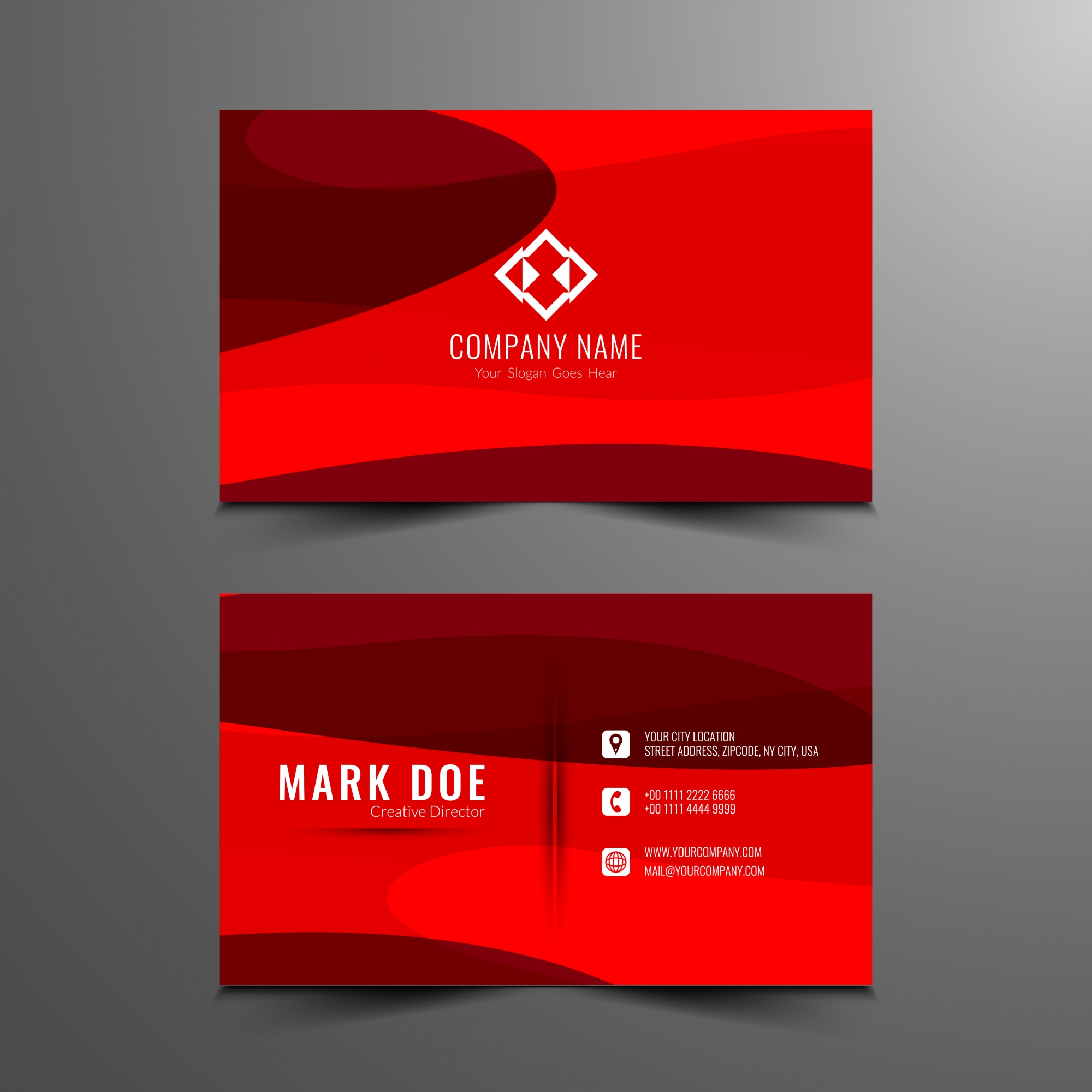 Abstract red color business card design
