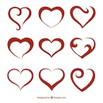 Abstract red hearts pack