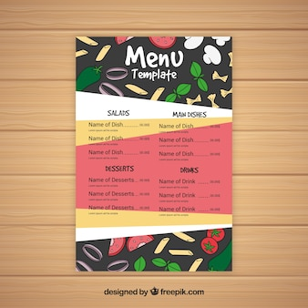 Abstract restaurant menu with ingredients