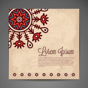 暗い背景にエレガントなインドの装飾スタイリッシュなデザイン挨拶状や結婚式の招待状として使用できます