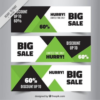Abstract sale banners in black and green colors