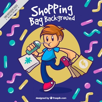 Abstract shapes background of boy with shopping bags