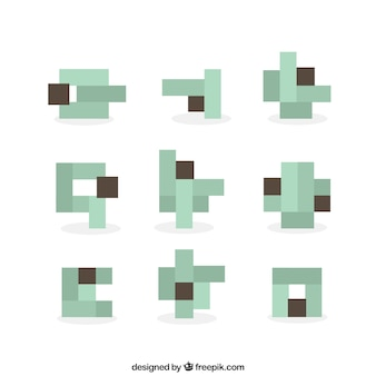 Abstract shapes made up of pixels