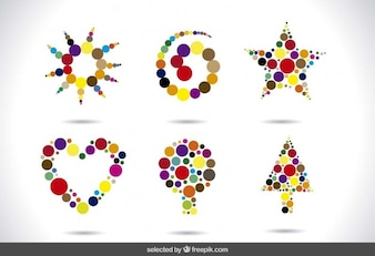 Abstract shapes made with dots