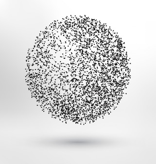 Abstract sphere made of molecules