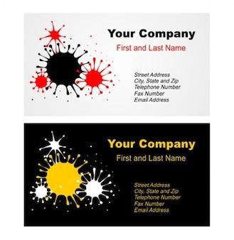 Abstract splatter business card vector set