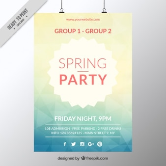 Abstract spring party poster template