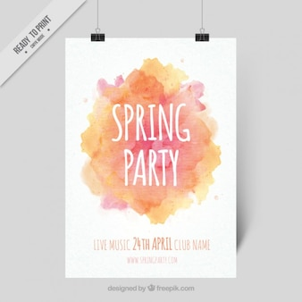 Abstract spring party  poster with a watercolor splash