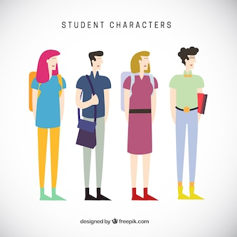 Abstract student characters illustration