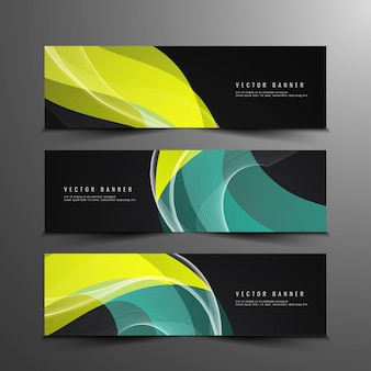 Abstract stylish wavy banners