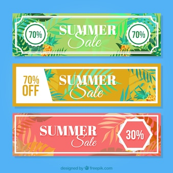 Abstract summer discount banners with palm leaves