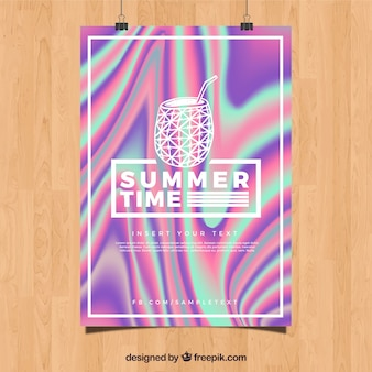 Abstract summer party poster with holographic effect