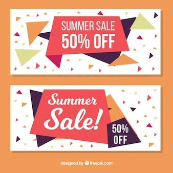 Abstract summer sale banners with polygons