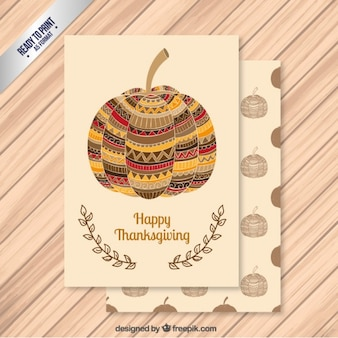 Abstract thanksgiving pumpukin card