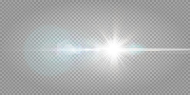 Abstract transparent sunlight special lens flare light effect.  blur in motion glow glare. isolated transparent background. decor element. horizontal star burst rays and spotlight.