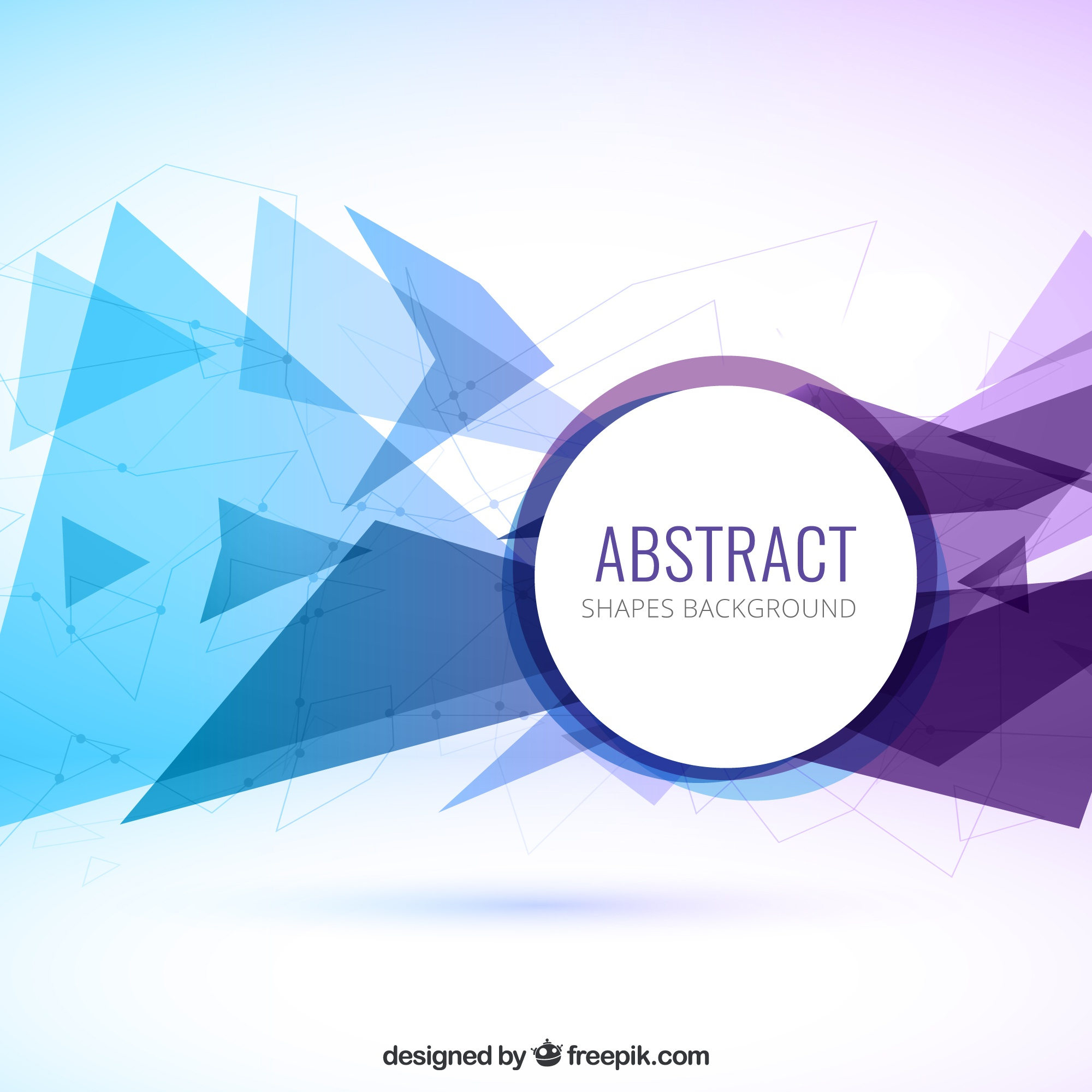 Abstract triangles background in blue and purple color