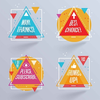 Abstract triangular badges