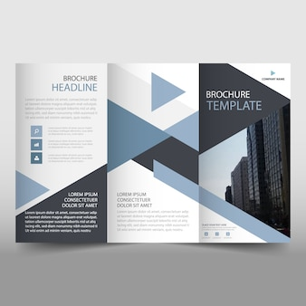 Abstract trifold business brochure template with triangular shapes