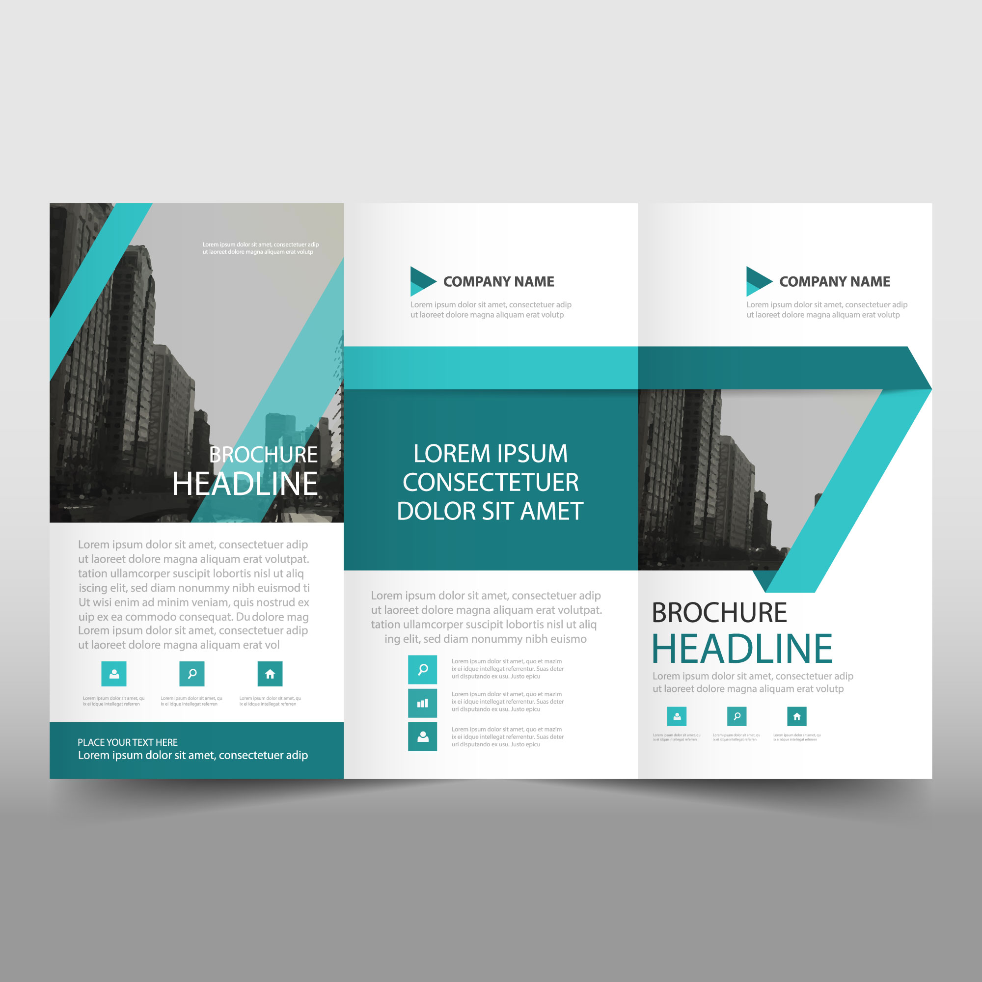 Abstract turquoise trifold business brochure template