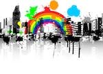Abstract urban grunge scene background with rainbow