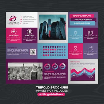 Abstract vibrant colorful design trifold brochure layout