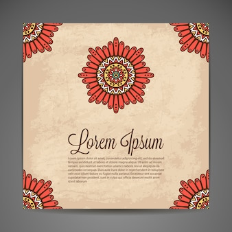Abstract vintage card with space for text and mandala design