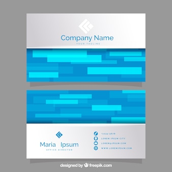 Abstract visiting card with shapes in blue tones