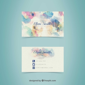 Abstract visiting card with watercolor stains