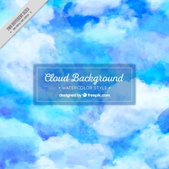 Abstract watercolor background of blue sky with clouds