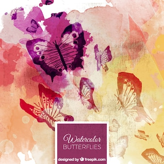 Abstract watercolor background of butterflies