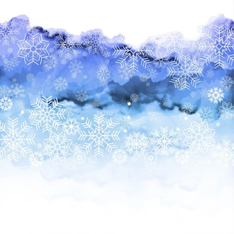 Abstract watercolor background with snowflakes