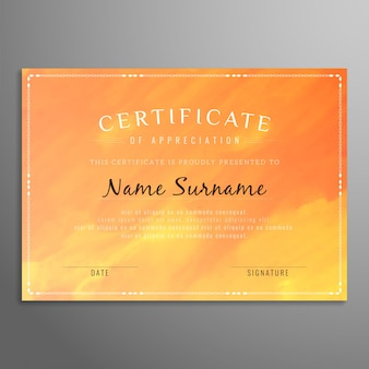 Abstract watercolor certificate design