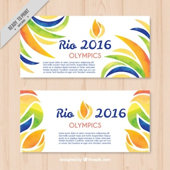 Abstract watercolor rio 2016 banners