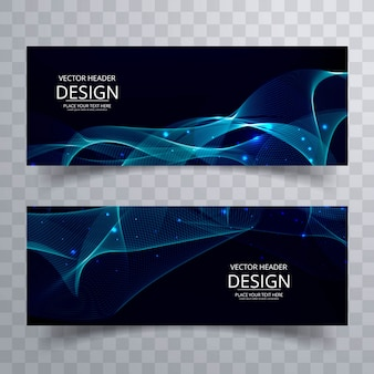 Abstract wavy banners in blue tones