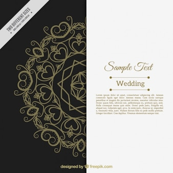 Abstract wedding invitation with ornaments