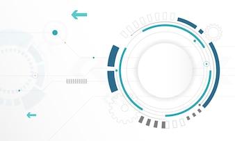 Абстрактный белый Круг цифровой технологии фона, футуристический элемент структуры концепции фона дизайн