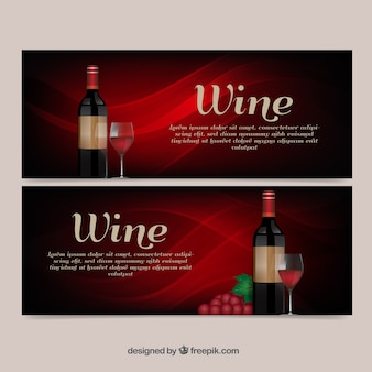 Abstract wine banners