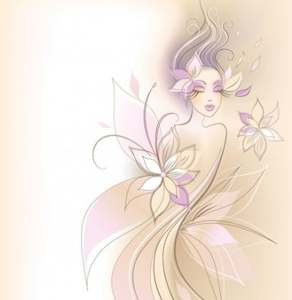 Abstract woman fantasy floral design background