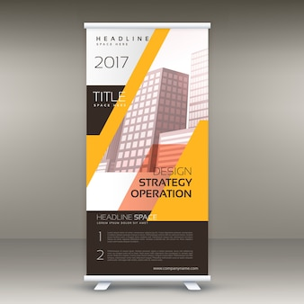 Abstract yellow and black roll up banner design